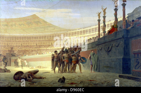 Jean Leon Gerome (1824-1904) 1859: 'Hail Caesar! We who are about to die salute you'. Gladiators in the arena saluting - Stock Photo
