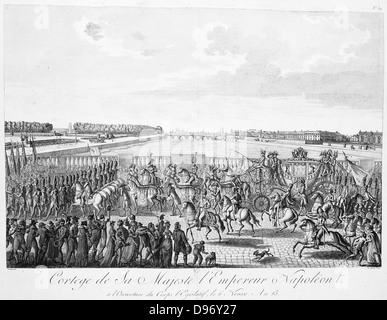 Carriage with horses carrying Napoleon I of France Circa 1807 - Stock Photo