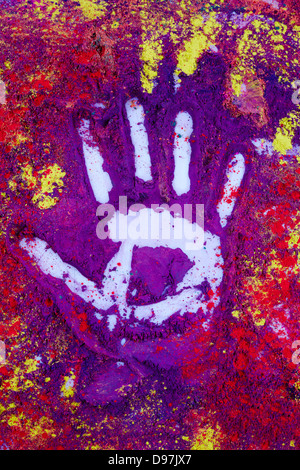 Hand print in different colors - Stock Photo