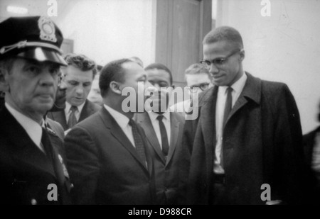 Martin Luther King Jnr (1929-1968) and Malcolm X (Malcolm Little - 1925-1965) waiting for a press conference, 26 - Stock Photo