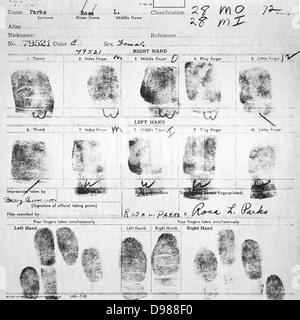 Fingerprint Card of Rosa Parks Civil Case 1147 Browder, et al v. Gayle, et. al; U.S. District Court for Middle District - Stock Photo