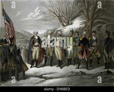 Revolutionary War 1775-1783 (American War of Independence): George Washington, left, with other officers including - Stock Photo