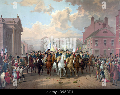 Revolutionary War 1775-1783 (American War of Independence): George Washington riding in triumph through streets - Stock Photo
