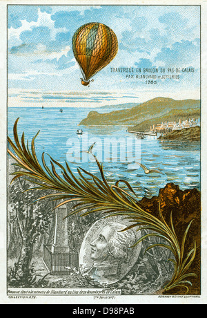 First balloon crossing of English Channel, 7 January 1785 by Jean-Pierre Blanchard, French inventor, and American - Stock Photo