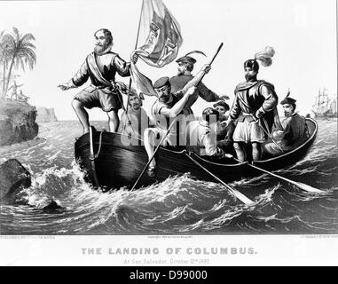 The landing of Columbus at San Salvador, October 12, 1492. Columbus standing in bow of boat holding Spanish flag. - Stockfoto