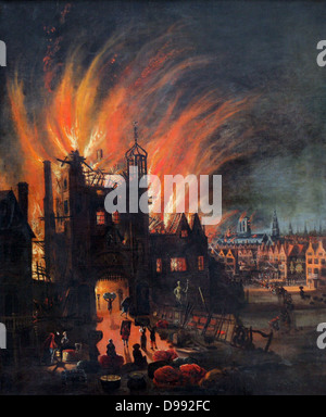 The Great Fire of London, 2-5 September 1666. On left people are saving what they can from a burning building. In - Stockfoto