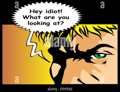 Bubble speech with text idiot written. Expression of defiance and anger. Comic style illustration of an angry man - Stock Photo