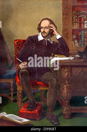 Colour portrait of William Shakespeare (1564-1616) (English playright) circa 19th Century - Stock Photo