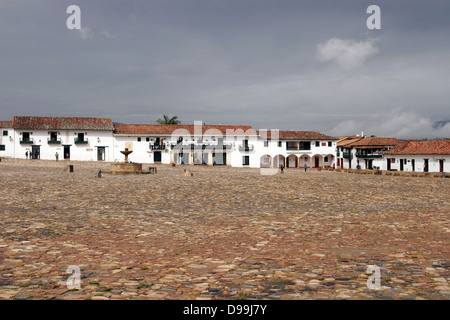 Plaza Mayor (main square) of the beautiful colonial village of Villa de Leyva, Colombia, South America - Stock Photo