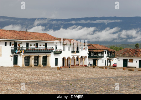 Plaza Mayor (main square) of the beautiful colonial village of Villa de Leyva, Colombia, South America - Stock Photo