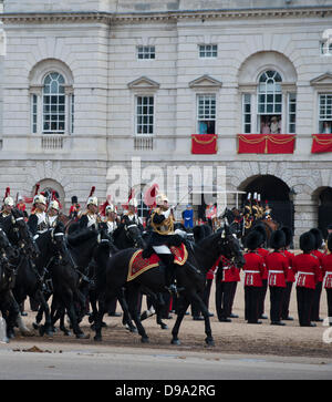London, UK. 15th June, 2013. Trooping the Colour. The Blues and Royals part of the household Cavalry go past The - Stock Photo