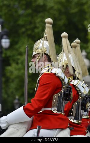 London, UK. 15th June 2013.  The Trooping Colour Parade in London, United Kingdom, The annual  trooping the colour - Stock Photo