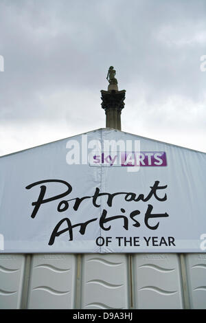 Trafalgar Square, London, UK, 15th June 2013. Sky Arts - Portrait Artist of the Year Tent in Trafalgar Square. Supported - Stock Photo