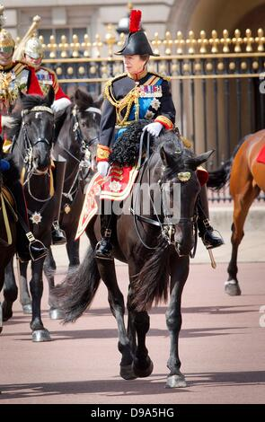 London, UK. 15th June, 2013. Princess Anne attends the trooping color parade in Londen, United Kingdom,15 June 2013. - Stock Photo