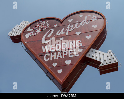 Sign above Cupid's Wedding Chapel, Downtown Las Vegas - Stockfoto