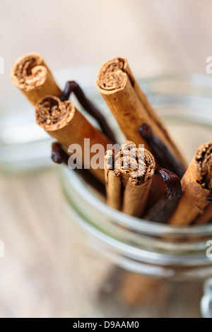 Cinnamon and vanilla sticks in a glass container - Stock Photo