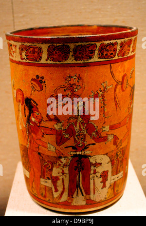 Vessel with young corn god.  Guatemala  Maya.  8th-9th century.  Ceramic. - Stock Photo