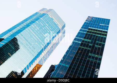 Angled view of skyscrapers - Stock Photo