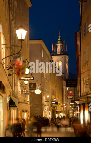 Traditional hanging signs along Getreidegasser, the main shopping street in the Altstadt, Salzburg, Austria - Stock Photo