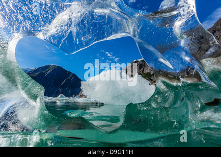 Glacial ice calved from the Sawyer Glacier, Williams Cove, Tracy Arm-Ford's Terror Wilderness Area, Southeast Alaska, - Stock Photo