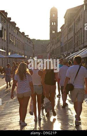 Stradun, Old City, UNESCO World Heritage Site, Dubrovnik, Croatia - Stock Photo