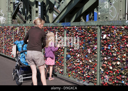 Love Locks, Padlocks, Hohenzollern Bridge, Cologne, Germany - Stock Photo