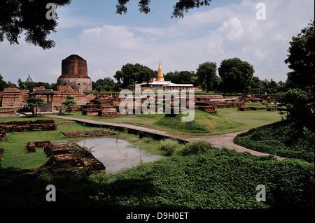 Sarnath is the deer park where Gautama Buddha found enlightenment.Uttar Pradesh, India - Stock Photo