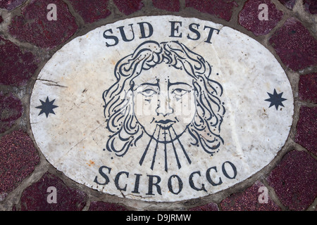 Marble Wind rose - South East (Scirocco) - Stock Photo