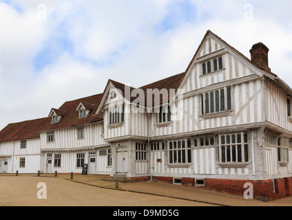 Guildhall of wool guild of Corpus Christi in 16thc Tudor half timbered building in medieval village Lavenham Suffolk - Stock Photo