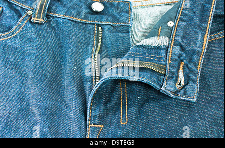 Men blue jeans. Jeans with a zipper. - Stock Photo