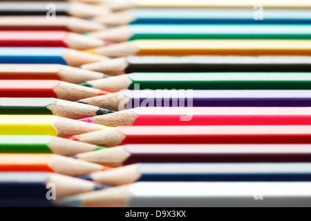 Row of colored pencils in perspective - Stockfoto
