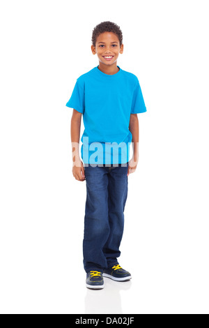 happy young indian boy standing on white background - Stock Photo