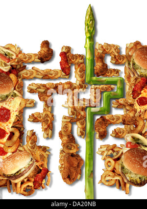 Healthy Solutions and health choice nutrition concept with a group of greasy junk food in the shape of a maze or - Stock Photo