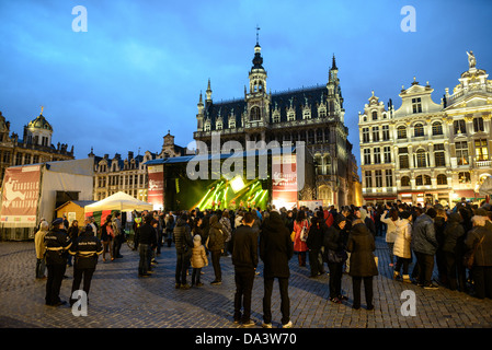 The Belgian band Opmoc plays on a stage at the Brussels Jazz Marathon in the Grand Place, Brussels. Originally the - Stock Photo