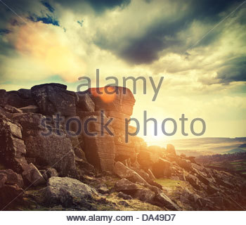 sundown curbar edge - Stock Photo