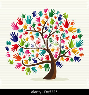 Diversity multi-ethnic hand tree illustration over stripe pattern background. Vector file layered for easy manipulation - Stock Photo