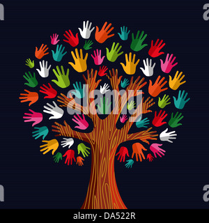 Colorful diversity tree hands illustration. Vector illustration layered for easy manipulation and custom coloring. - Stock Photo