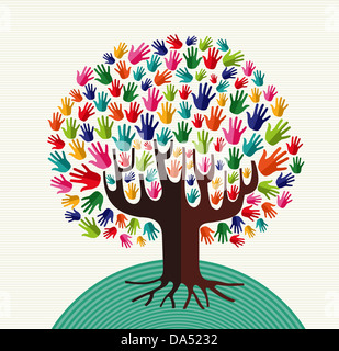 Colorful diversity tree hands illustration over stripe pattern background. Vector file layered for easy manipulation - Stock Photo