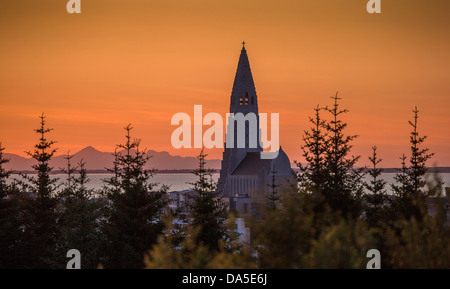 Hallgrimskirkja Church at sunset, Reykjavik, Iceland - Stock Photo