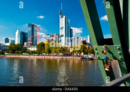 love padlocks, padlocks, locks, love, bridge, iron footbridge, Commerzbank, Frankfurt am Main, Frankfurt on the - Stock Photo
