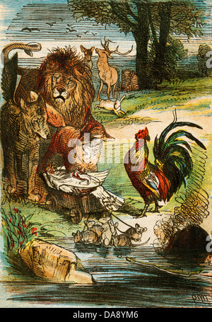 Death of a Chicken, from a Berlin edition of Grimms' Fairy Tales, 1865. - Stock Photo