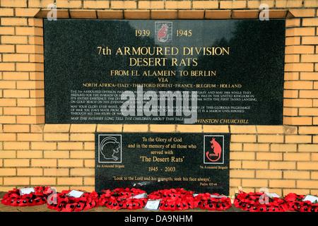 Inscription, Desert Rats Memorial, 7th Armoured Division, Thetford Forest, Norfolk, England UK, 2nd World War memorials, - Stock Photo