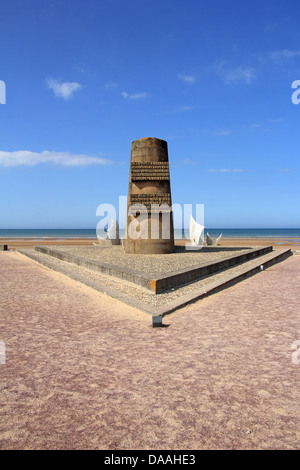 Memorial at Omaha Beach - place of landing of allied forces during the Normandy D-Day invasion - June 6, 1944. - Stock Photo