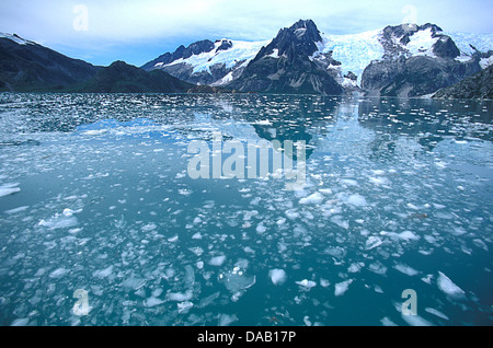 Northwestern Fjord, Kenai Fjords, National Park, Alaska, USA, icy, water, glacier, mountains, reflection, cold, - Stock Photo