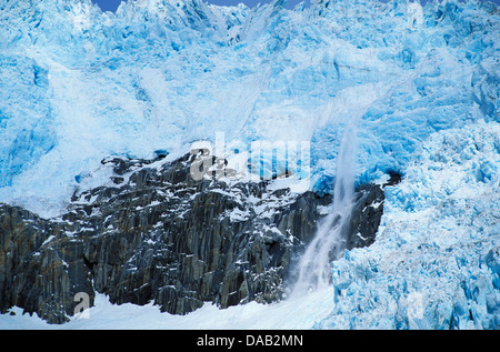 Northwestern Glacier, Kenai Fjords, National Park, Alaska, USA, glacier, ice, snow, cold, blue, crack, snowing, - Stock Photo