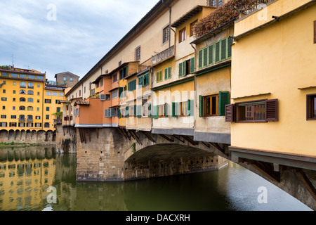 Side view of Ponte Vecchio in Florence, Italy - Stock Photo