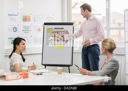 Business colleagues looking at diagram in meeting room - Stock Photo
