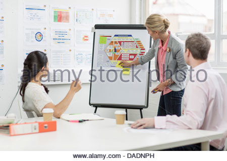 Business people looking at diagram in meeting room - Stock Photo