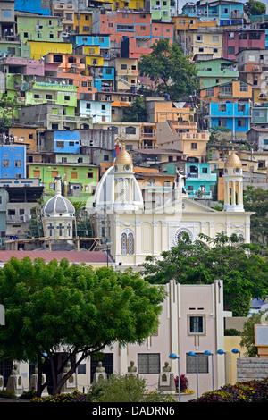 colorful houses in the city, Cerro del Carmen, Ecuador, Guayaquil - Stock Photo