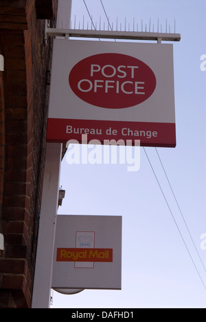 a bureau de change sign advertising the present exchange rate outside stock photo royalty free
